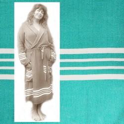 GRACE: luxe dames badjas met ruimte voor vormen smaragd Groen