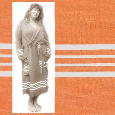 GRACE: luxe dames badjas met ruimte voor vormen royal Oranje