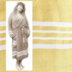 GRACE: luxe dames badjas met ruimte voor ormen Oker Geel