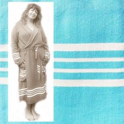GRACE: luxe dames badjas met ruimte voor vormen fris Turqoise
