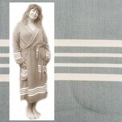 GRACE: luxe dames badjas met ruimte voor vormen groen grijs