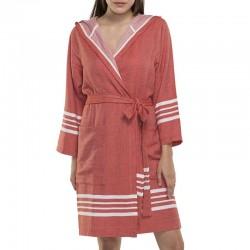 Lalay sauna badjas met capuchon kleur: Brick - hamamdoekengeluk