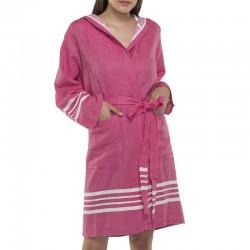 Lalay - sauna badjas met capuchon kleur: fuchsia roze - hamamdoekengeluk