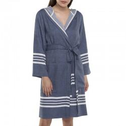 Lalay - sauna badjas met capuchon kleur: navy blauw - hamamdoekengeluk