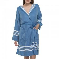 Lalay - sauna badjas met capuchon kleur: petrol blauw - hamamdoekengeluk
