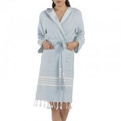 Lalay - sauna badjas met capuchon kleur: zacht blauw (zonder franje!) - hamamdoekengeluk