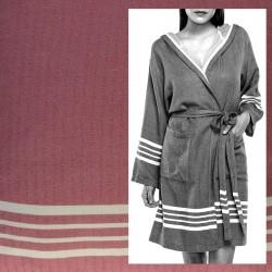 Lalay - sauna badjas met capuchon kleur: Oud Roze - hamamdoekengeluk