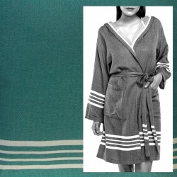 Lalay - sauna badjas met capuchon kleur: smaragd groen - hamamdoekengeluk