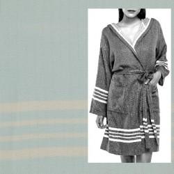 Lalay - sauna badjas met capuchon kleur: ijs blauw - hamamdoekengeluk